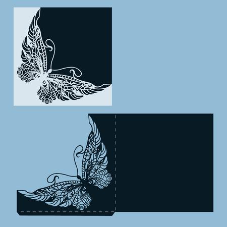 엽서. 추상 나비와 초대 및 인사말 카드입니다. 레이저 컷의 패턴.