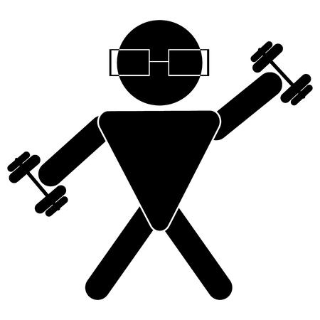 Stick figure, la personne noire sur fond blanc, stickman, fait du sport, soulève des haltères