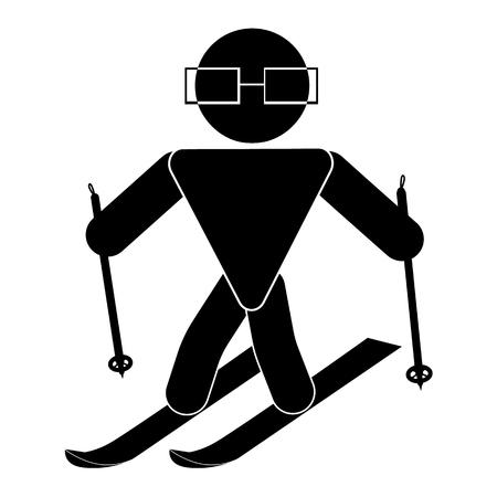 Stick figure, la personne noire sur un fond blanc, stickman, conduire sur des skis fait du sport,