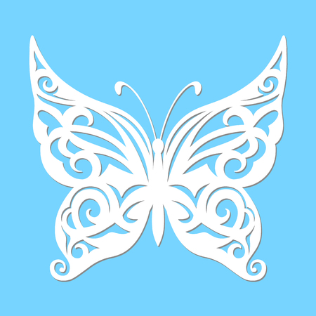 Vintage Vector, white butterfly on a blue background. Laser cutting