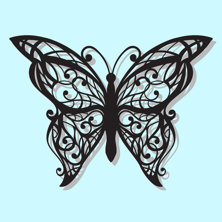 Vintage black butterfly on a blue background. Laser cutting
