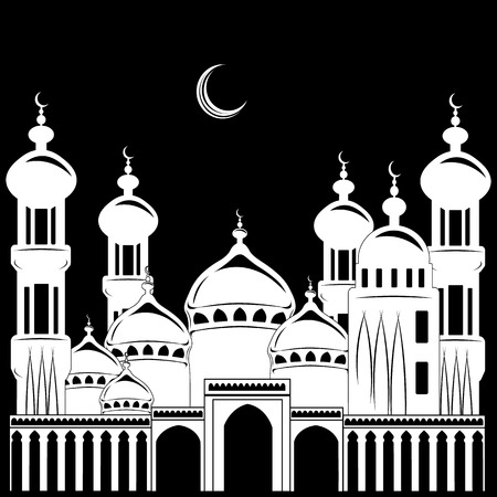 vector Illustration, silhouette building mosque, background nighty tower, moon