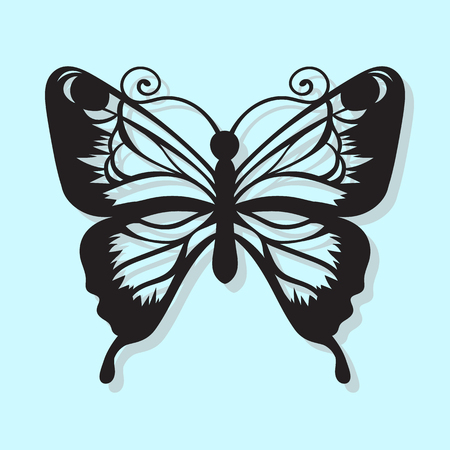 Cool Vector, black butterfly on a blue background. Laser cutting