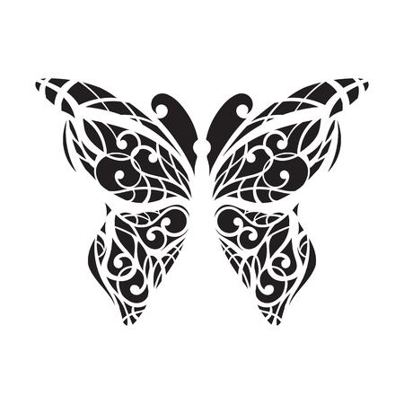 Vecteur, papillon noir sur un fond blanc. Découpe au laser. ailes, tatouage Banque d'images - 76572064