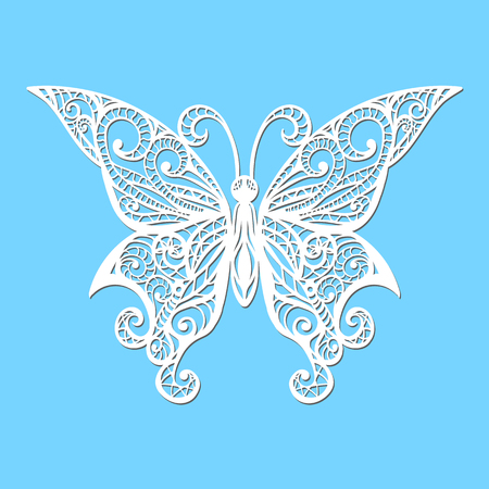 A Vector, white butterfly on a blue background. Laser cutting