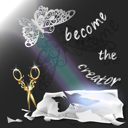 a creator: Cutting of paper flying butterfly. vector illustration, origami crafts. Screen background. Black. written text, become the creator