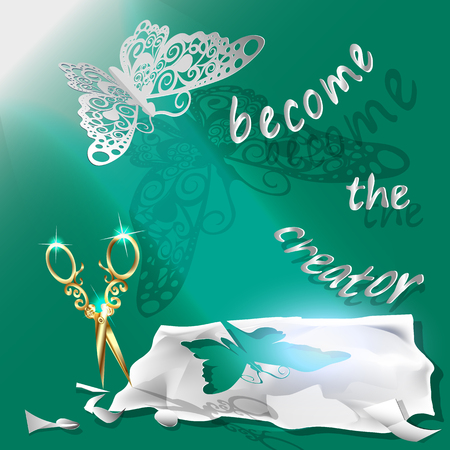 scissors: Cutting of paper flying butterfly. vector illustration, origami crafts. Screen background. Green. written text, become the creator