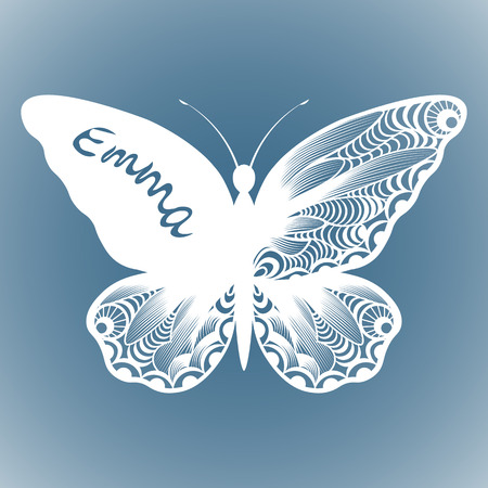 vector butterfly, Laser cutting wedding card, Decorative card. paper black. butterfly invitation. on the wing of the inscription the name of Emma. withe