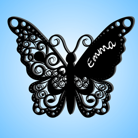 Vector butterfly, Laser cutting wedding card, Decorative card. Paper black. Butterfly invitation. on the wing of the inscription the name of Emma. Black