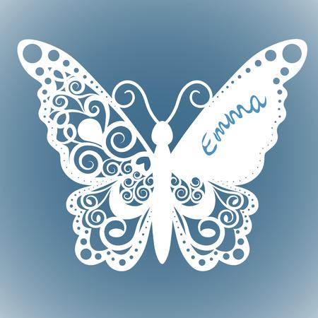 Papillon vecteur, Carte de mariage à coupe laser, Carte décorative. papier noir. Invitation aux papillons. Banque d'images - 76259588