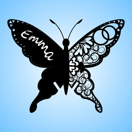 Papillon vecteur, Carte de mariage à coupe laser, Carte décorative. papier noir. Invitation aux papillons. Banque d'images - 76259558