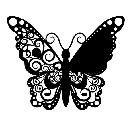 Papillon de découpe de vecteur, carte de lieu de mariage de découpe laser, carte décorative. papier noir Banque d'images - 76259410
