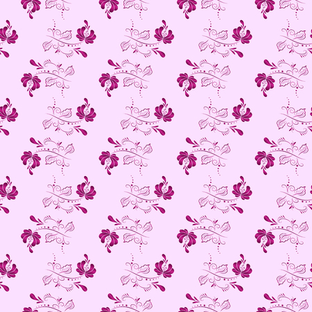 Pink floral textile vector seamless pattern in Russian gzhel style