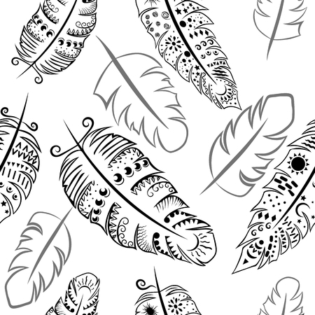 animal silhouette: Feathers seamless texture. black feathers on white background. Modern seamless pattern. Vector.