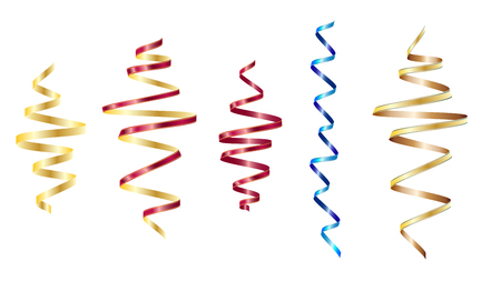 Colored set. Golden serpentine ribbons, isolated on white background. Decoration for party, birthday celebrate or Christmas carnival, New Year gift. Festival decor. Vector illustration