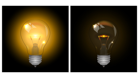 A set of colored lamps of different colors. Shine in yellow. Vector illustration