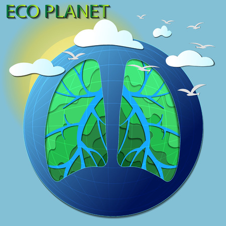 planet vector illustration. Eco world, 3d land. design elements - planet, globe, green nature, Rivers, lungs, sun, clouds, birds