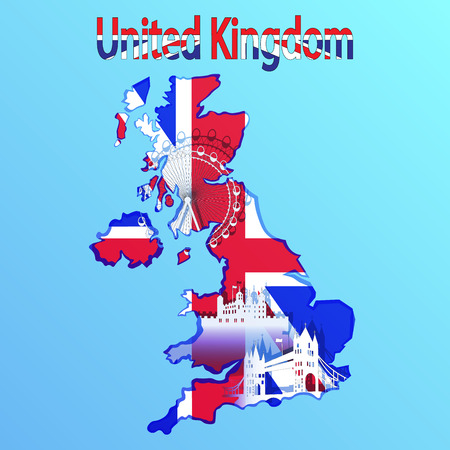 london tower bridge: United Kingdom map and flag in blue background. Tower Bridge, London eye, Tower