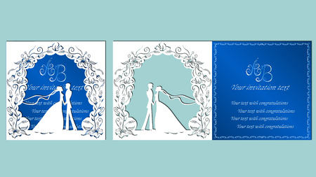 Vector illustration Postcard. Invitation and greeting card with the groom and the bride under. Arch of flowers. Pattern for the laser cut, boy and girl. Word - wedding Çizim