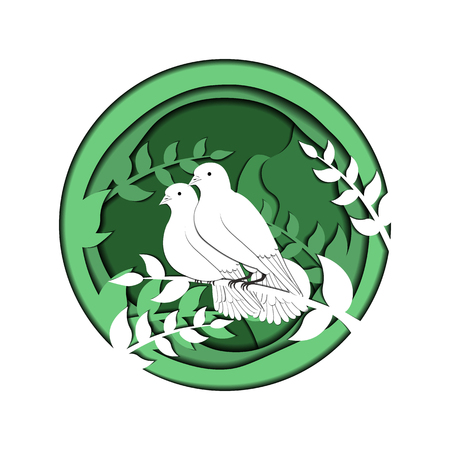 Pigeons from paper. olive branch. Vector 3d illustration. Green. Illustration