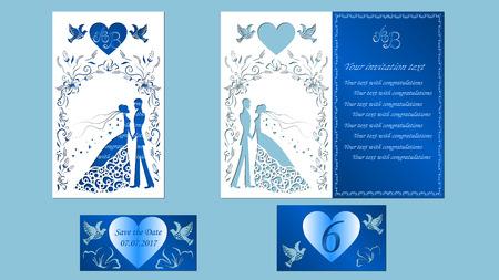ベクトル イラストはがき。招待状、新郎と花嫁のグリーティング カード。花のアーチ。レーザー カット、男の子と女の子のパターン。単語 - 結婚