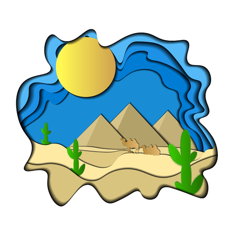 Vector Illustration of a paper. 3d. Cactus, pyramids, camels, sun, sand. blue yellow