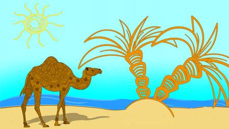 vector illustration. Egypt. Beach and sea. Camel with a mandolin.