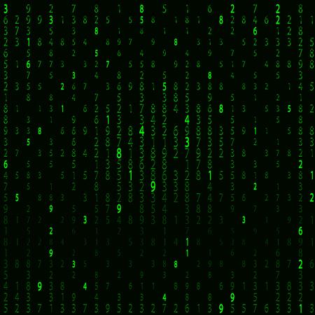 행렬 스타일의 배경. 떨어지는 임의의 숫자. 녹색이 지배적 인 색입니다. 벡터 일러스트 레이 션