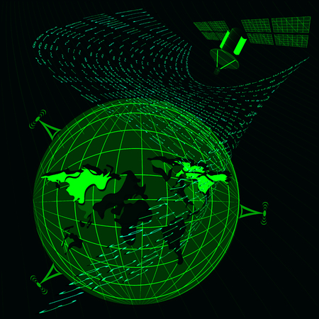 programming code: Background in a matrix style. antenna, satellite, earth. Falling random numbers. Green is dominant color. Vector illustration Illustration