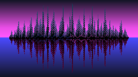 electronic music: Vector background music wave circuit city cubes pink sky blue