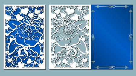 laser, knippen, kaart, rozen, knippen, sjabloon, bruiloft, vector, papier, bloem, wit,
