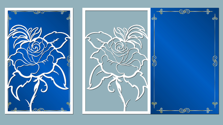laser, cut, card, roses, cutting, template, wedding, vector, paper, flower, white, Illustration