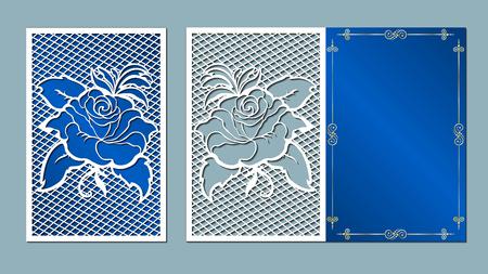 レーザー カット、カード、切削、テンプレート、結婚式、ベクトル、紙、花、白バラ  イラスト・ベクター素材