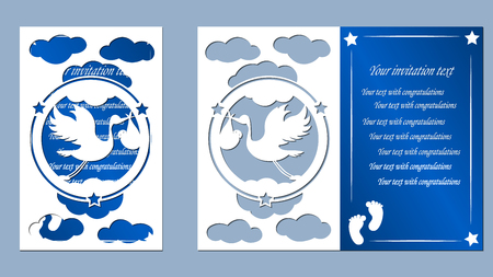 laser cutting, stork, toy, children traces, children carriage, pacifier, clouds, blue, white, paper, Illustration