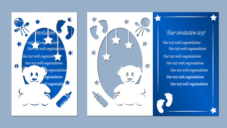 laser cutting, childrens traces, bear cub, star, pacifier, toy, blue, white, paper,