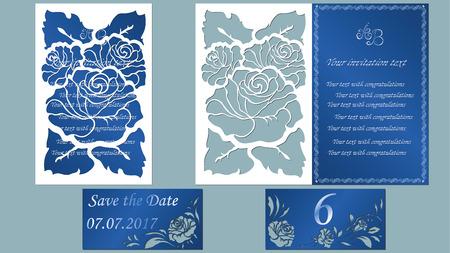 Vector illustratie Briefkaart. Uitnodiging en wenskaart. Patroon voor de laser gesneden. roze bloem wit.