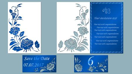 ベクトル イラストはがき。招待状やグリーティング カード。レーザー カットのパターン。白いバラの花。
