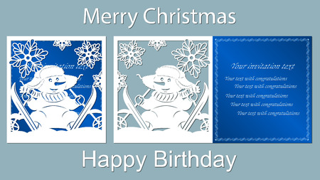 Text - Merry Christmas, happy birthday. Snowman, laser cutting, snow, vector, card, skis, blue, carrot, snowflake