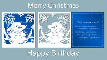 Texto - feliz Natal, feliz aniversário. Boneco de neve, corte a laser, neve, vetor, cartão, esquis, azul, cenoura, floco de neve