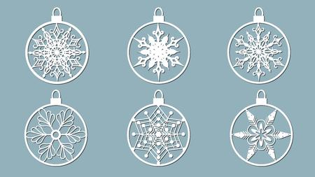 クリスマスのボール紙の削減、雪の結晶を設定します。レーザー切断、切断または印刷プロッター用のテンプレート。お祭りの背景。