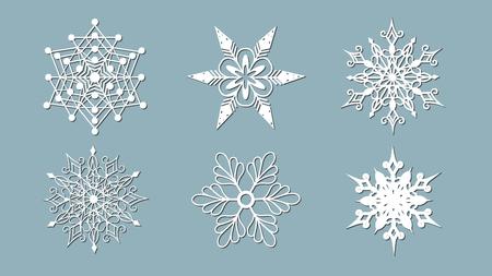 Set of snowflakes. Laser cut pattern for christmas paper cards, design elements, scrapbooking. Vector illustration. Illustration