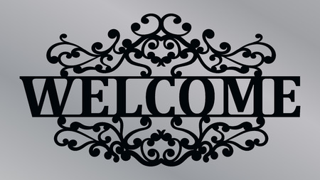 Welcome lace plate. Template laser cutting machine for wood, metal and paper. Welcome phrase for your design.