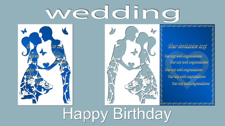 Vector illustration Postcard. The invitation card and greeting card with the boy and the girl. Pattern for the laser cut. Trees, maple leaves. Rose, hearts. blue, white