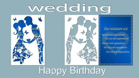 Vektorabbildung Postkarte. Die Einladungs- und Grußkarte mit dem Jungen und dem Mädchen. Muster für den Laserschnitt. Bäume, Ahornblätter. Rose, Herzen. Blau Weiss Standard-Bild - 91103282