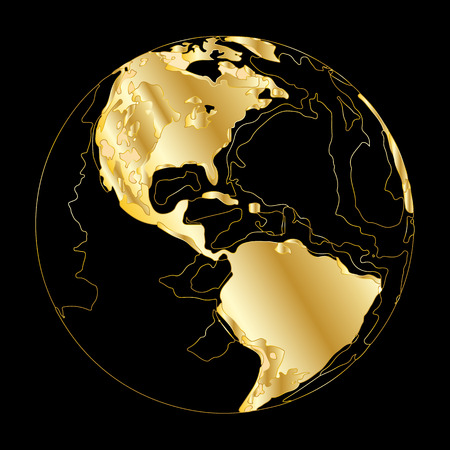 Creative gold earth. Vector illustration. Golden template design for media design and business infographic, website, design, cover, annual reports. Earth Graph World map.