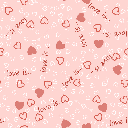 Big and small hearts background with the inscription love is vector.