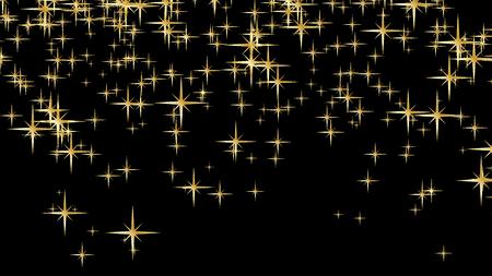 Gold glitter stars vector background. Golden scattered stars. Magic mist glowing. Stylish fashion black backdrop.