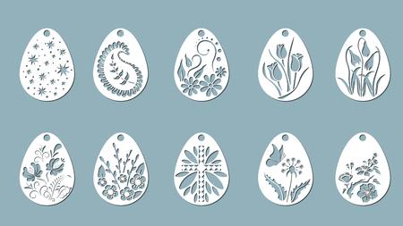 Vector illustration. Easter eggs for Easter holidays. Set of paper Easter egg stickers. Laser cut