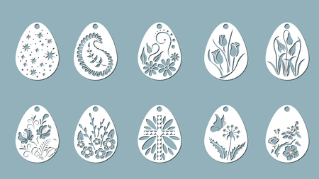Vector illustration. Easter eggs for Easter holidays. Set of paper Easter egg stickers. Laser cut
