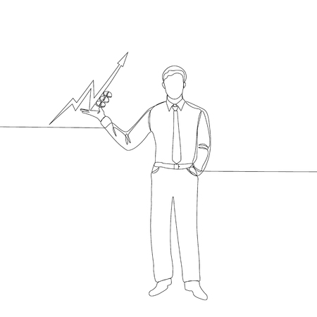 continuous line drawing of businessman, the chart up of the dollar